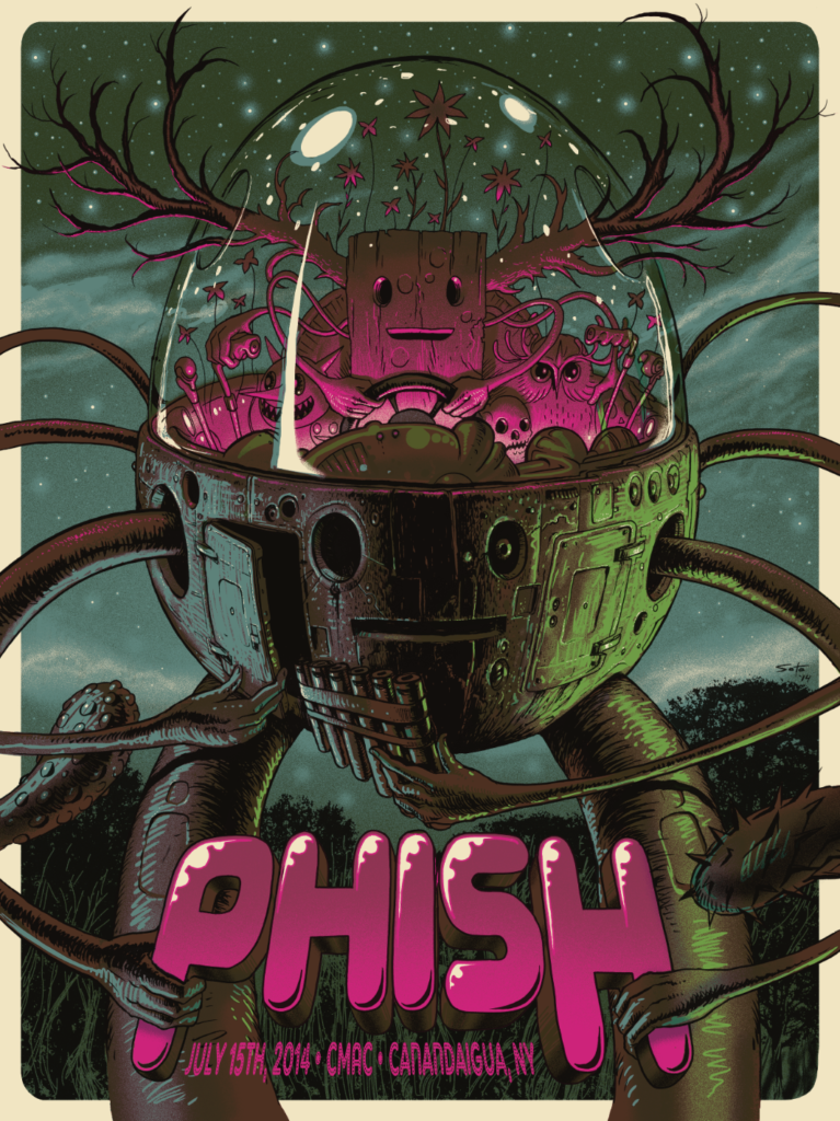 Jeff Soto, Phish, screen printed poster for the band Phish NY State performance,  ©Jeff Soto.