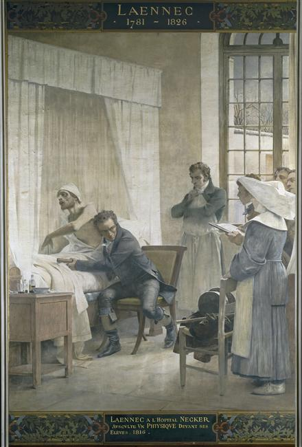 Théobald Chartran, Laennec à l'hôpital Necker ausculte un phtisique devant ses élèves, 1816.