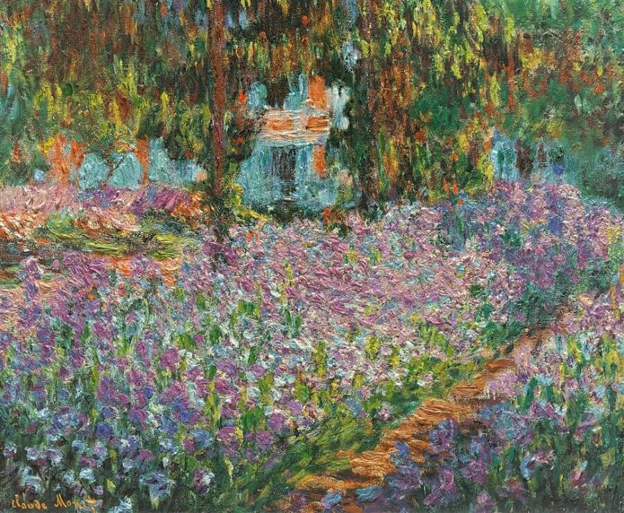 Impressionist Monet's picturesque garden at Giverny in 1900.