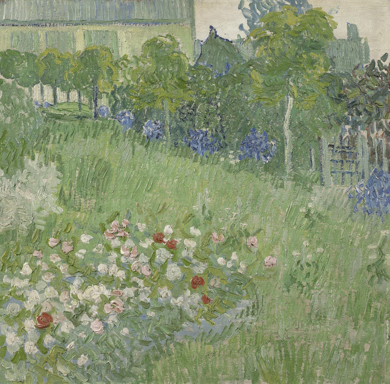 First painted on a tea towel, Van Gogh's beautiful garden at Daubigny is shown here.