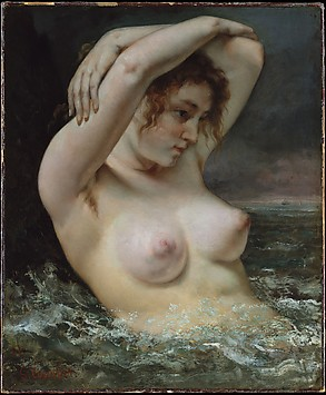 woman in water; Courbet scandalous nudes