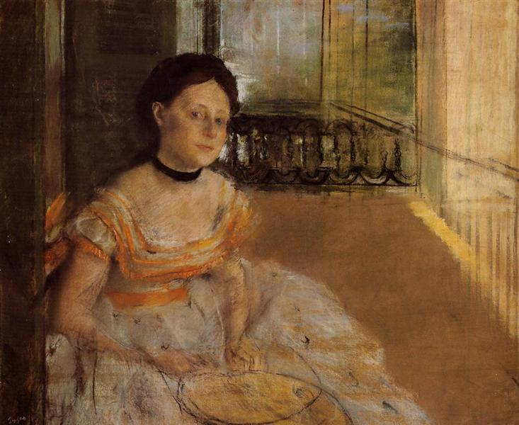 An Edgar Degas portrait showing a woman seated on a balcony.