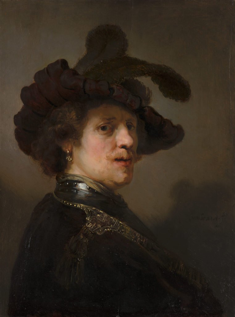 Rembrandt, 'Tronie' of a Man with a Feathered Beret, 1635-40, oil on panel, 62.5 x 47 cm, Mauritshuis, The Hague, Netherlands. tronie