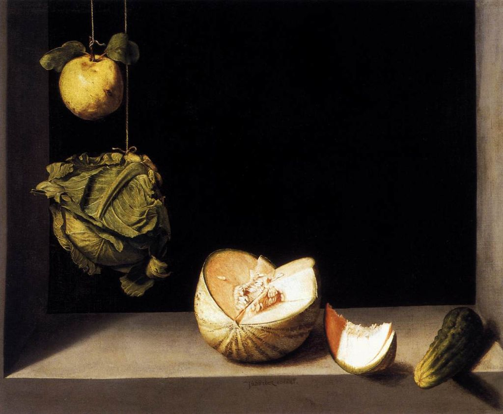 Spanish bodegones: Juan Sánchez Cotán, Quince, Cabbage, Melon and Cucumber, ca. 1602, The San Diego Museum of Art, San Diego, USA. Photo: Web Gallery of Art.