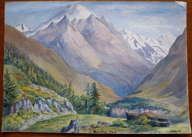 Photograph of one of Adolf Hitler's watercolors showing a landscape depicting mountains and a valley.