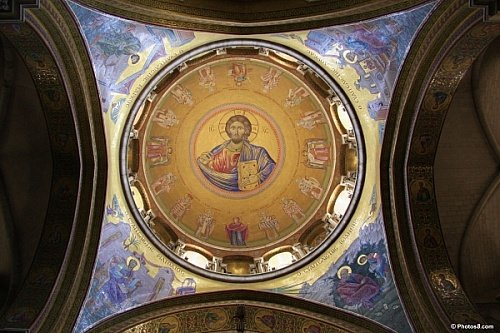 Interior Dome of the Church of the Holy Sepulchre, 4th century, Jerusalem, Israel, source: churchoftheholysepulchre.net. Detail: Christ in the Pantocrator pose on dome of the Church of the Holy Sepulchre.