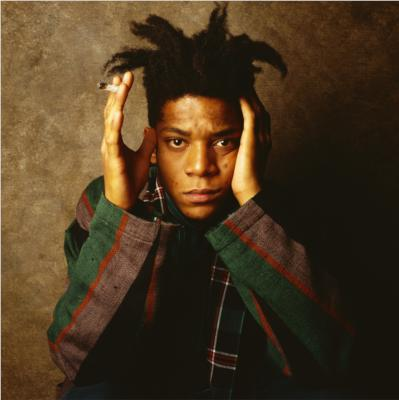 Portrait of Jean Michel Basquiat holding his head on a brown background;fine art rap music painters rappers compared Art references in rap