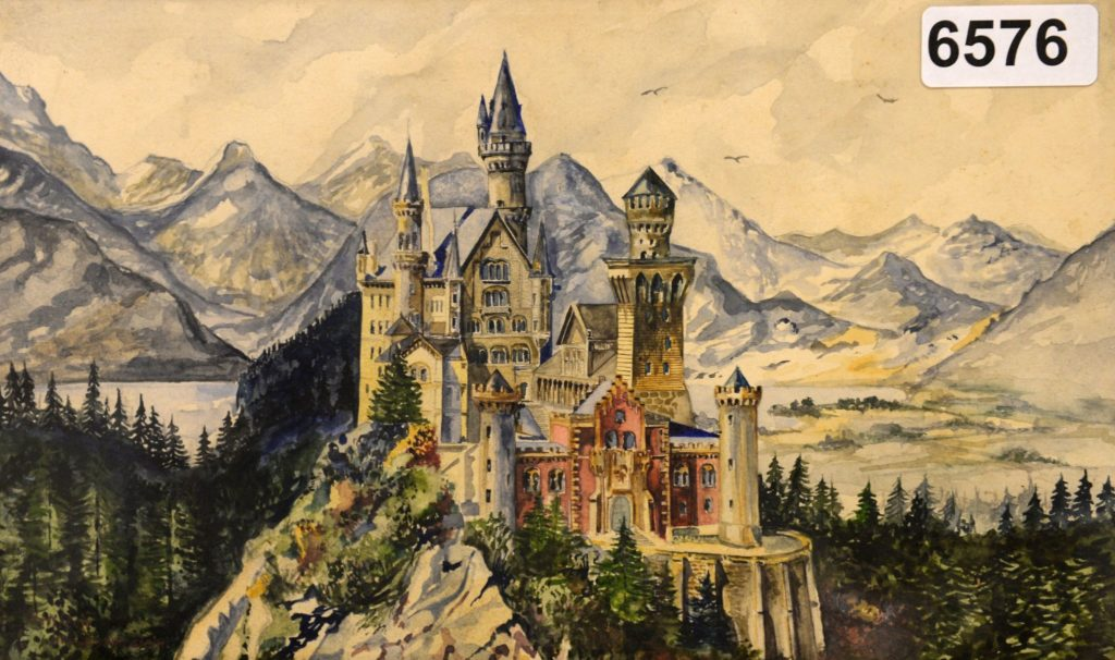 A watercolor painted by Hitler depicting a likeness of Neuschwanstein Castle in Bavaria.