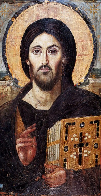 The St. Catherine Pantocrator, image of Christ Pantocrator raising right hand in blessing and holding the gospels in left hand