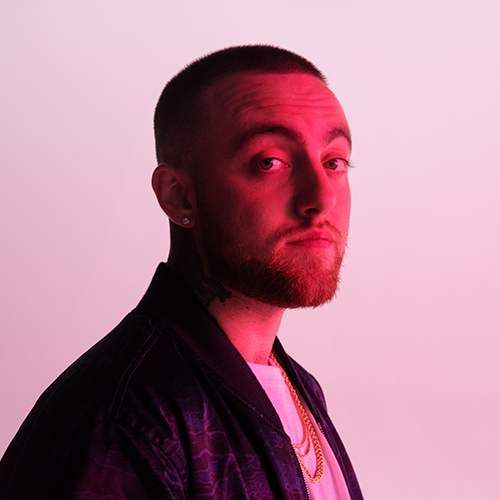 Portrait of rapperMac Miller, three quarter profile, photography, piink background