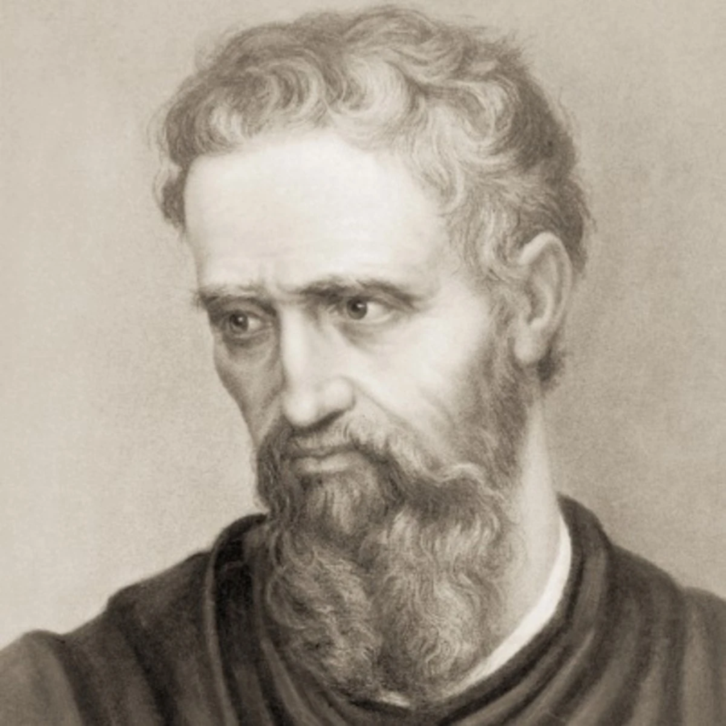 Reproduction of a drawing representing Michelangelo, grey