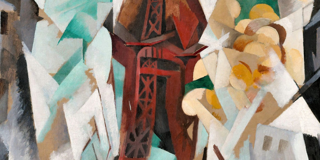 Robert Delaunay, Champs de Mars: The Red Tower, 1911-23, Art Institute of Chicago. Enlarged Detail of Upper Red Tower.