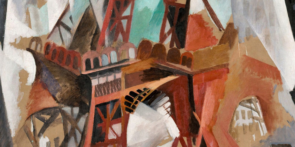 Robert Delaunay, Champs de Mars: The Red Tower, 1911-23, Art Institute of Chicago. Enlarged Detail of Lower Red Tower.