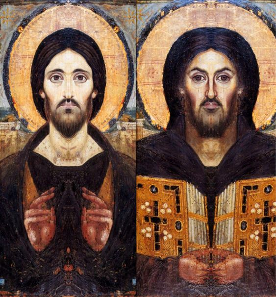 Duality of Jesus in the St. Catherine Pantocrator, 6th or 7th century, Saint Catherine, South Sinai Governorate, Egypt. Detail: Side by side recreation of what  each half of the St. Catherine Pantocrator image would look like.