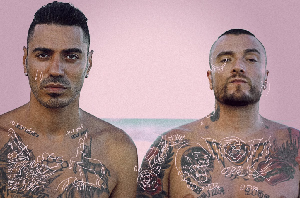 Photography, Rappers Marracash&Gue Pequeno shirtless, pink background, pink drawings superposed on their tatoos; fine art rap music painters rappers compared Art references in rap