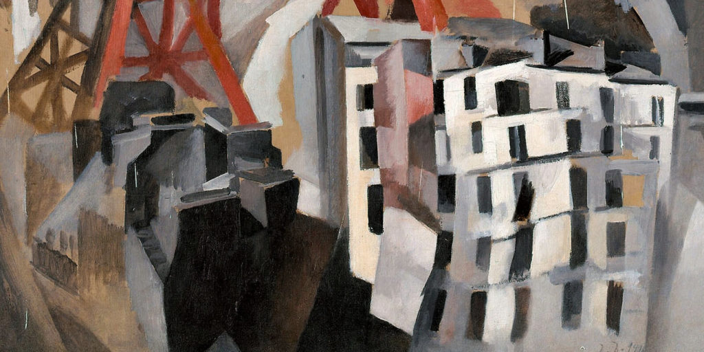 Robert Delaunay, Champs de Mars: The Red Tower, 1911-23, Art Institute of Chicago. Enlarged Detail of Foreground Buildings.