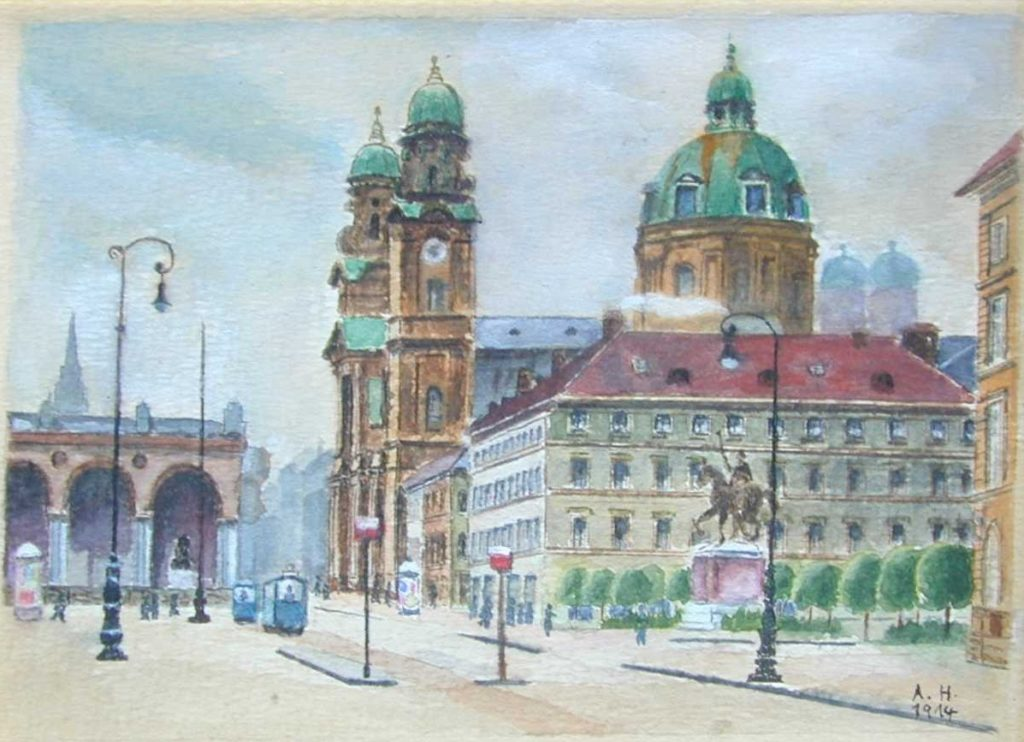A watercolor depicting a city street scene.
