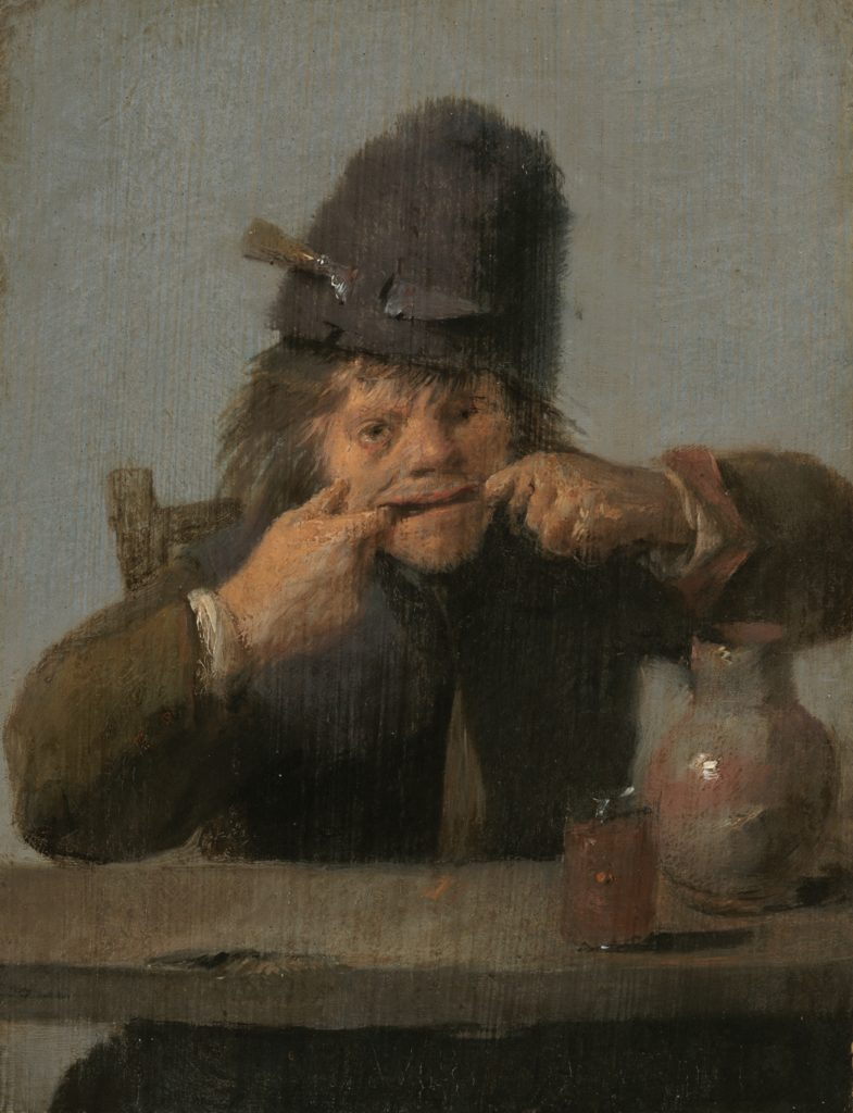 Adriaen Brouwer, Youth Making a Face, 1632-35, oil on panel, 13.7 x 10.5 cm, National Gallery of Art, Washington D.C. tronie