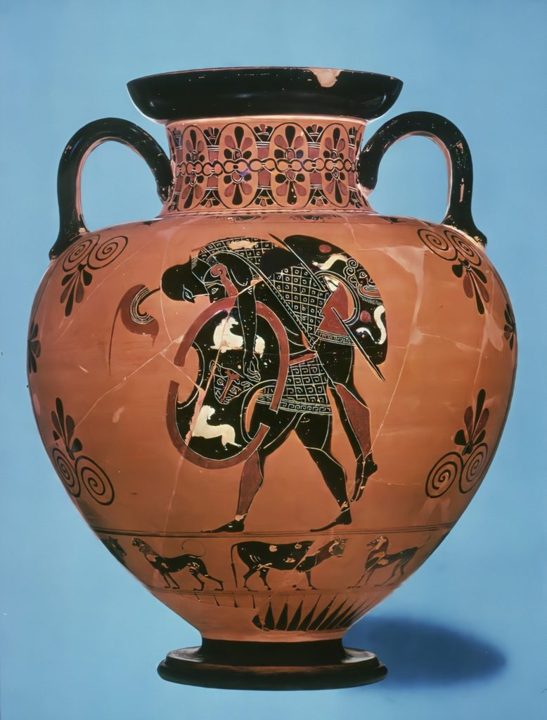 Ajax Carries the Body of Achilles by Exekias; Ajax in ancient Greek pottery: