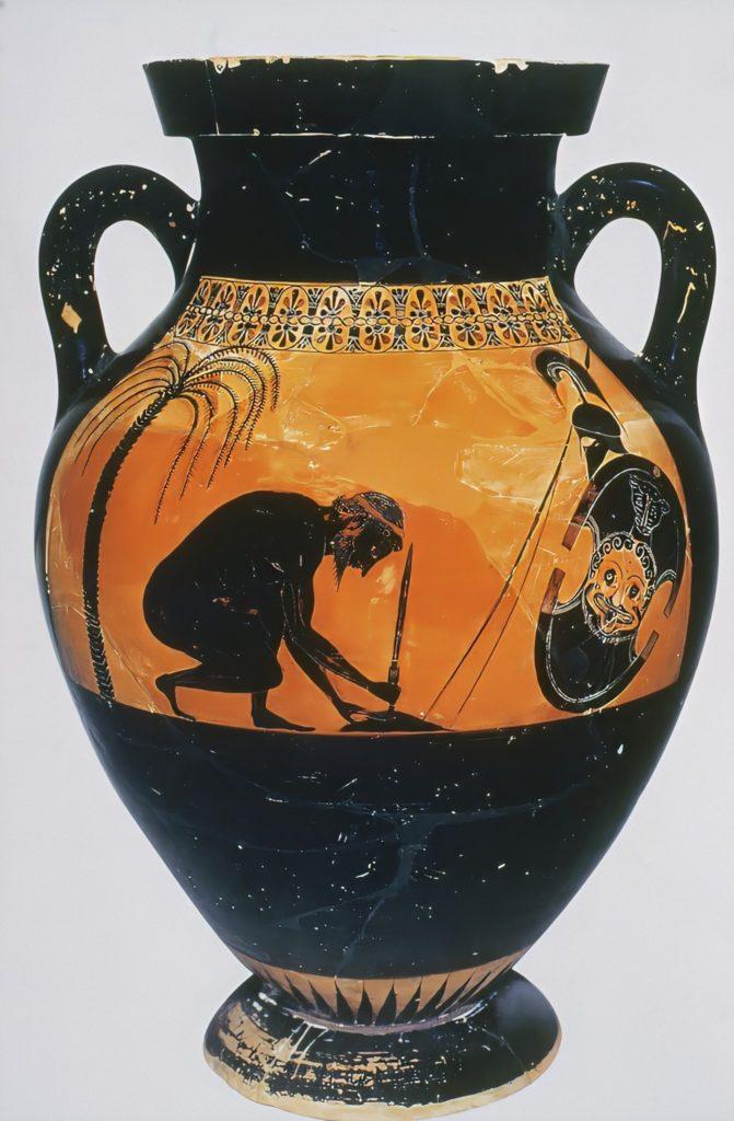 Ajax Prepares to Kill Himself by Exekias; Ajax in ancient Greek pottery: