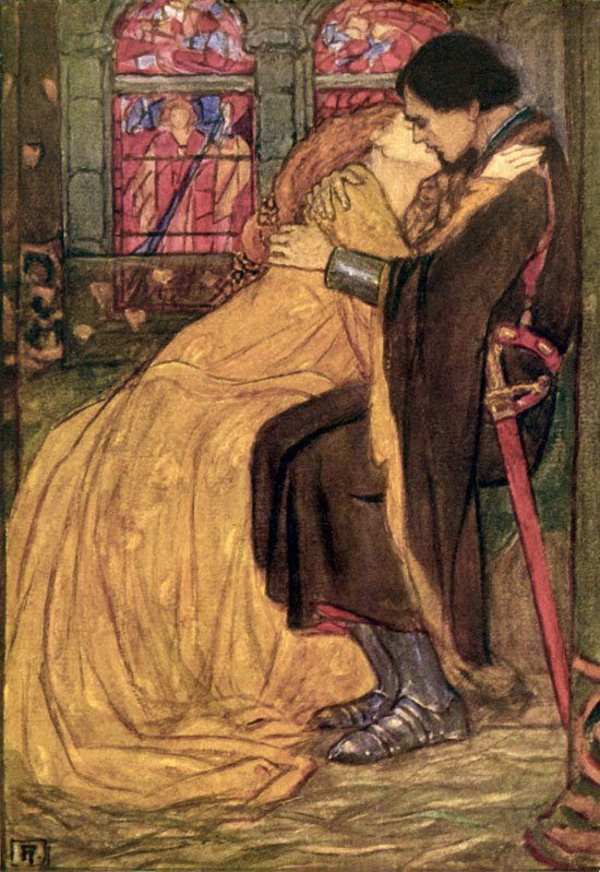 Archetypes in Star Wars Art: Florence Harrison, The Last Hour, illustration to Alfred Lord Tennyson's Guinevere, 1912. Art Passions.
