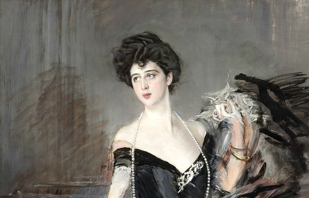 Giovanni Boldini, Portrait of Donna Franca Florio, 1901-1924, Grand Hotel Villa Igiea, Palermo, Italy, enlarged detail, source: Wiki commons.