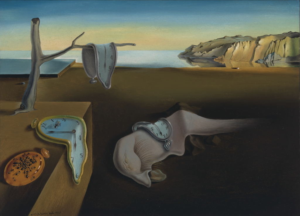 Painting of Salvador Dalí, The Persistence of Memory. There is four clocks, three  of them are melted and one there is a normal form. In the middle there is a abstract figure and this elements are insert in a natural landscape; andalusian dog