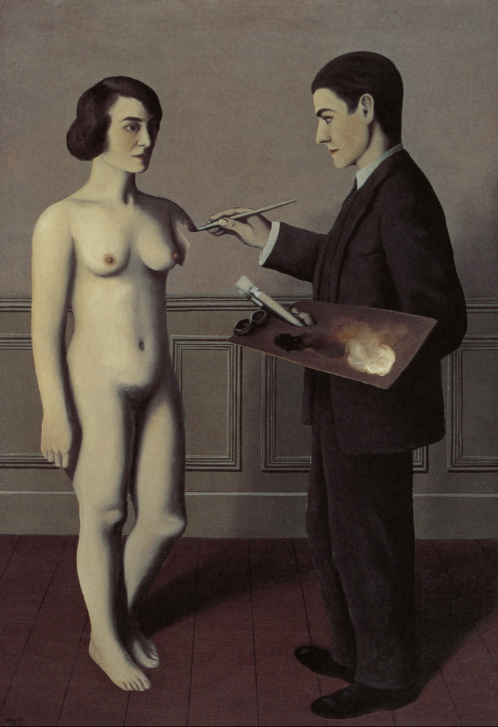 Surrealist painting of René Magritte, Attempting the Impossible. A men is painting a woman in the air andalusian dog