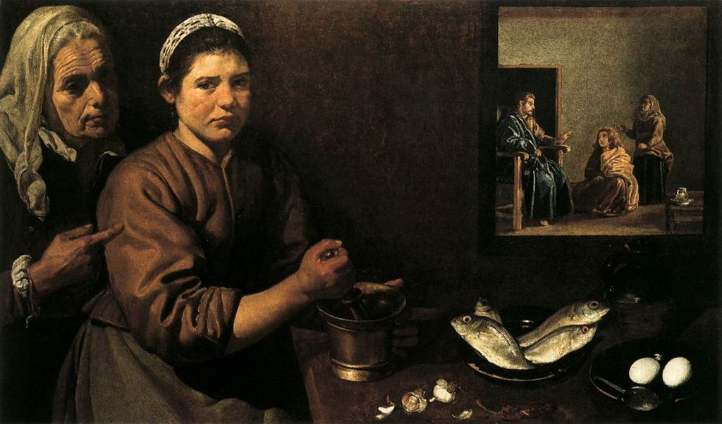 Spanish bodegones: Diego Velázquez, Christ in the House of Mary and Martha, ca. 1618, National Gallery, London, UK. Photo: Web Gallery of Art.
