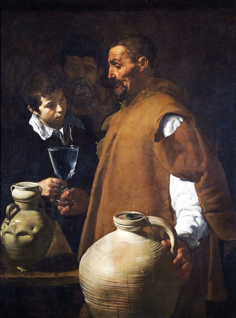 Spanish bodegones: Diego Velázquez, The Waterseller of Seville, ca. 1620, Wellington Museum, London, UK, Photo: Apsley House Collection, Wikimedia Commons.