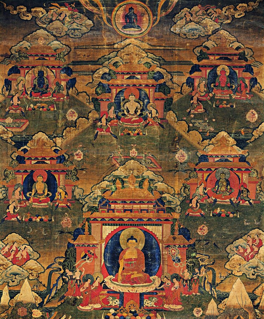 the painting of five wisdom Buddhas or tathagatas, with one of the Buddhas sitting in the center. Five Wisdom Tathagata Buddhas,mandala.