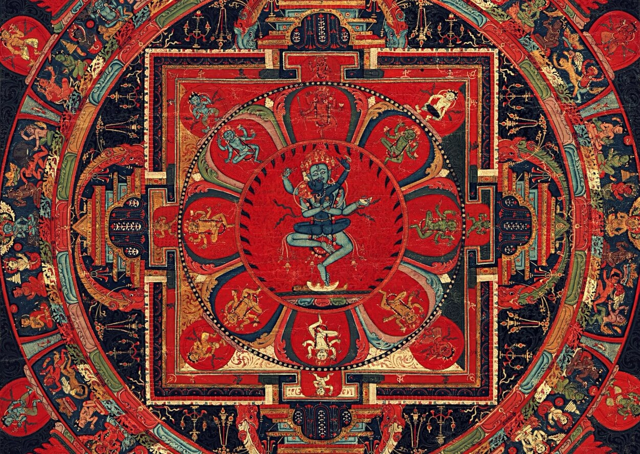 the detail the painting of the hevajra mandala with the deity and his consort in the center, eight dancing deities in the surrounding lotus petals