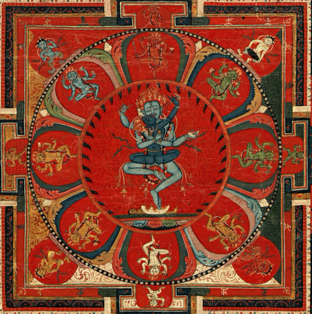 Hevajra Mandala,. detail the painting of the hevajra mandala with the deity and his consort in the center, eight dancing deities in the surrounding lotus petals