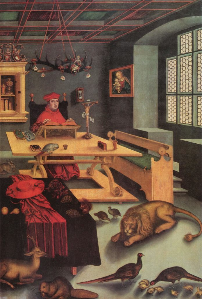 Lucas Cranach the Elder, Albrecht of Brandenbrug as St. Jerome in his study, 1526, John and Mable Ringling Museum, Florida, US.