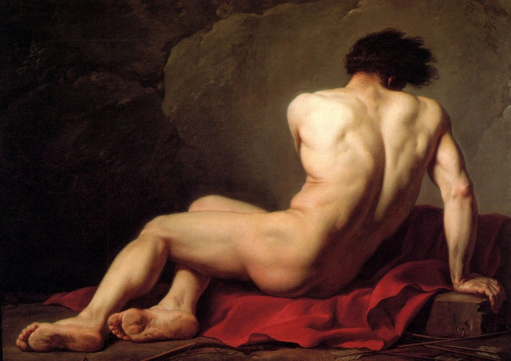 Male nudes in art history: Jacques Louis David, Male Nude (Patroclus)
