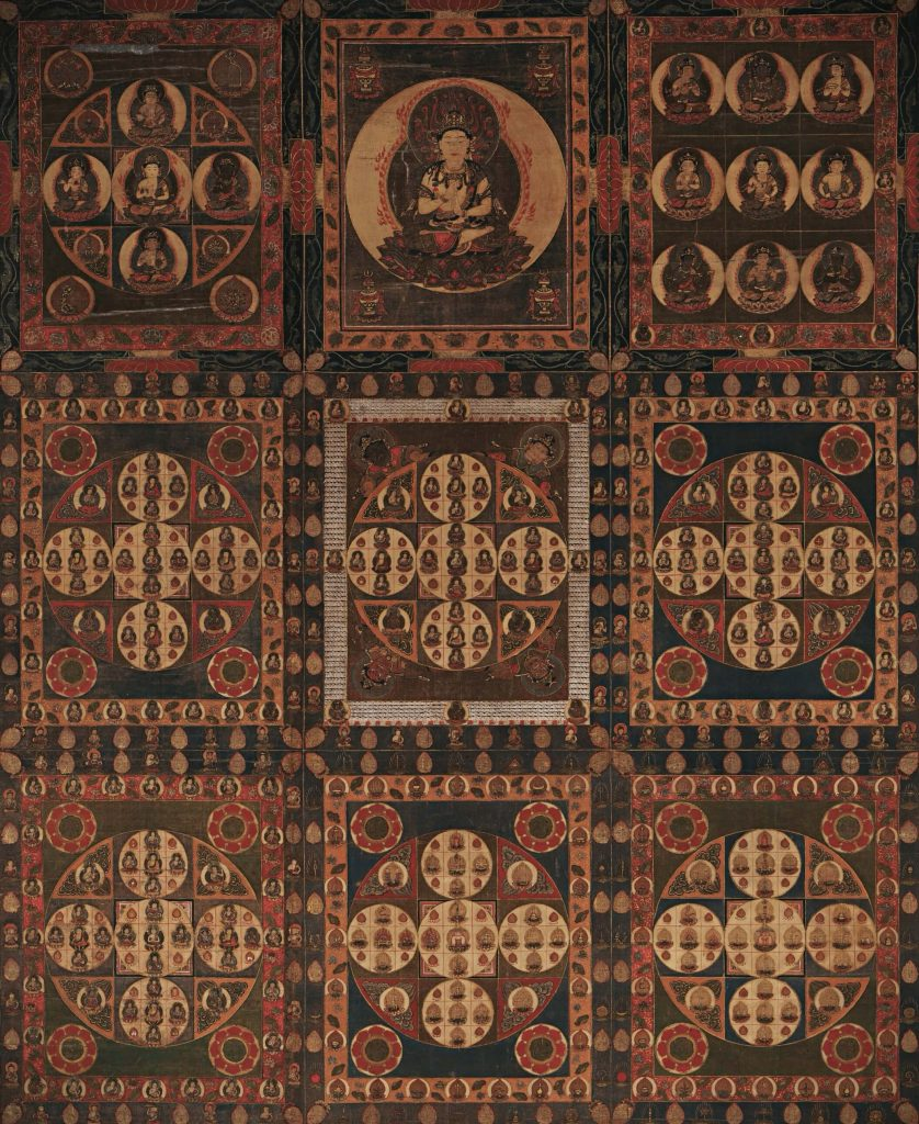 Mandala of the Two Worlds, Diamond World Mandala or Kongokai. painting of the diamond world mandala with Dainichi in the top middle and his smaller images in the epicenter of each circle within the square