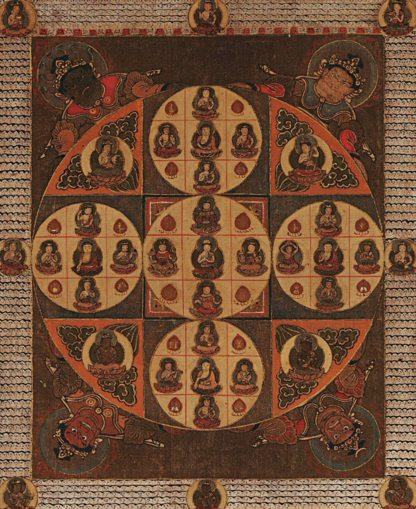 Mandala of the Two Worlds, Diamond World Mandala or Kongokai. detail of the painting of the diamond world mandala with Dainichi's smaller images in the epicenter of each circle within the square
