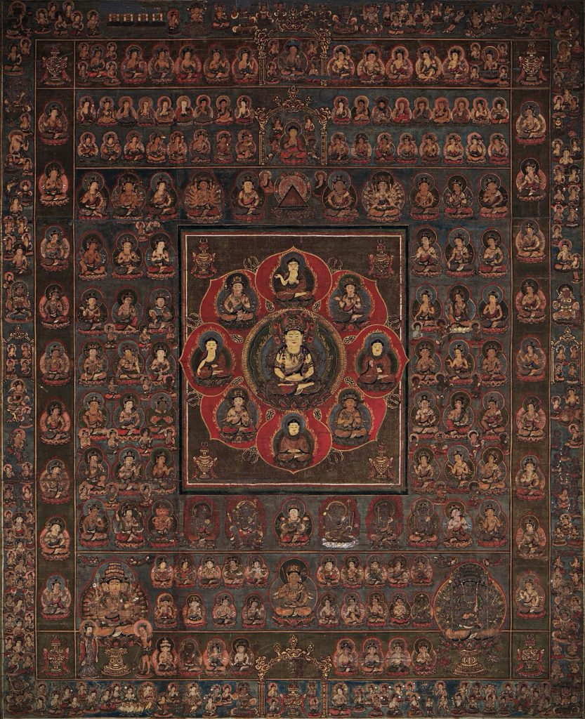 Mandala of the Two Worlds, Womb World (Matrix) Mandala or Taizokai. painting of the matrix or womb world mandala with Dainichi in the center of the lotus flower, four directional buddhas and four attendant bodhisattvas and many other deities in other sections or halls