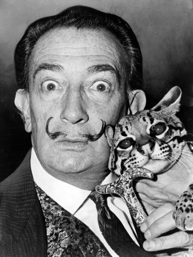 Salvador Dali and his ocelot Babou in 1965.