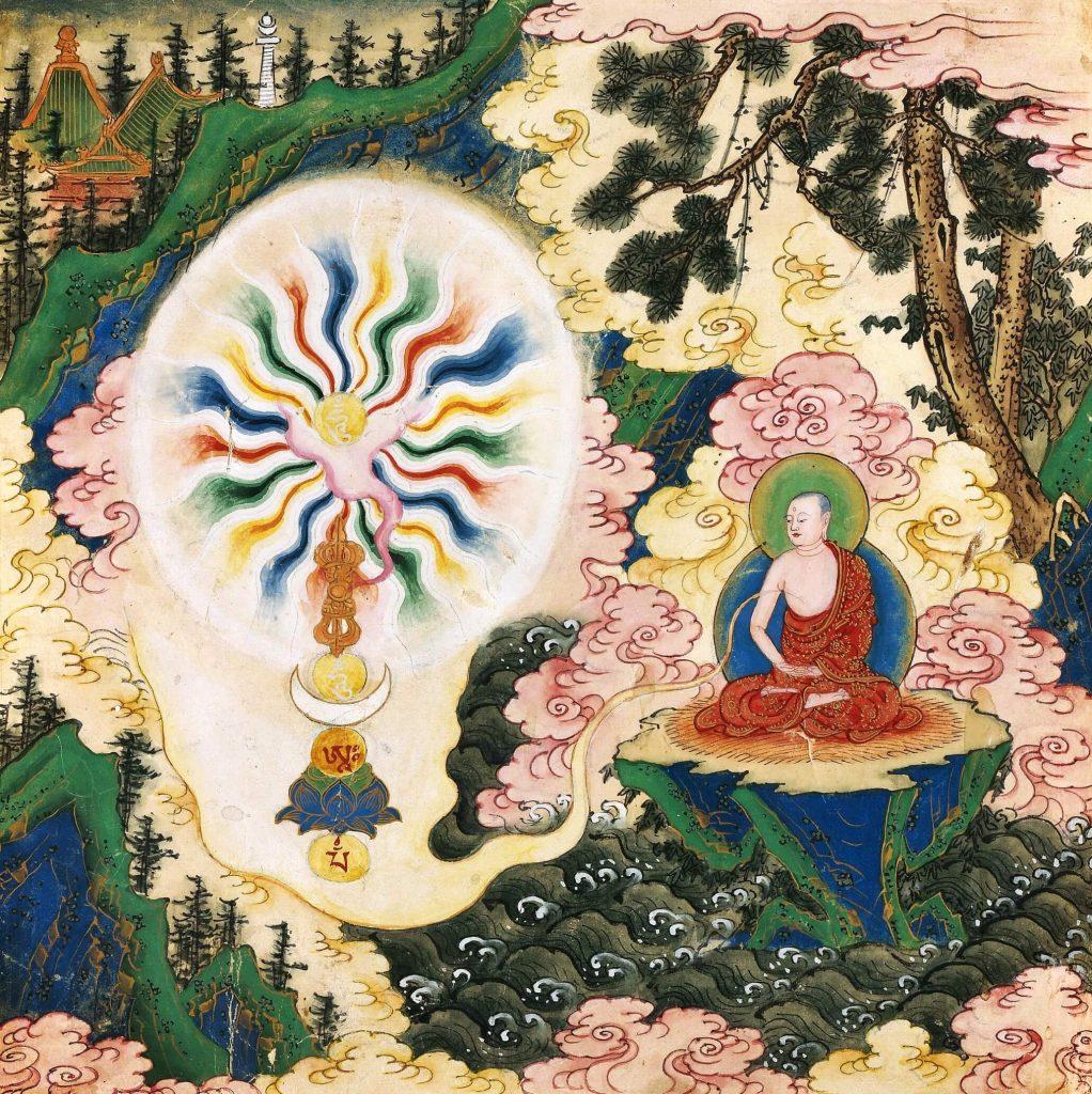 painting of the monk sitting on a mountain and meditating. Sarvavid Vairocana Mandala