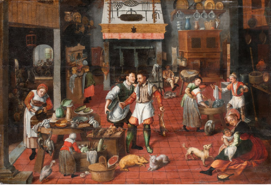 Kitchen Inspiration from Art History Marten van Cleve, Kitchen Interior Group of people and animals inside a kitchen; Kitchen inspiration art history