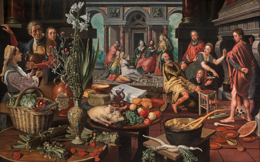 Aertsen's painting showing a kitchen full of people and food. Pieter Aertsen Christ in the house of Martha and Mary; Kitchen inspiration art history