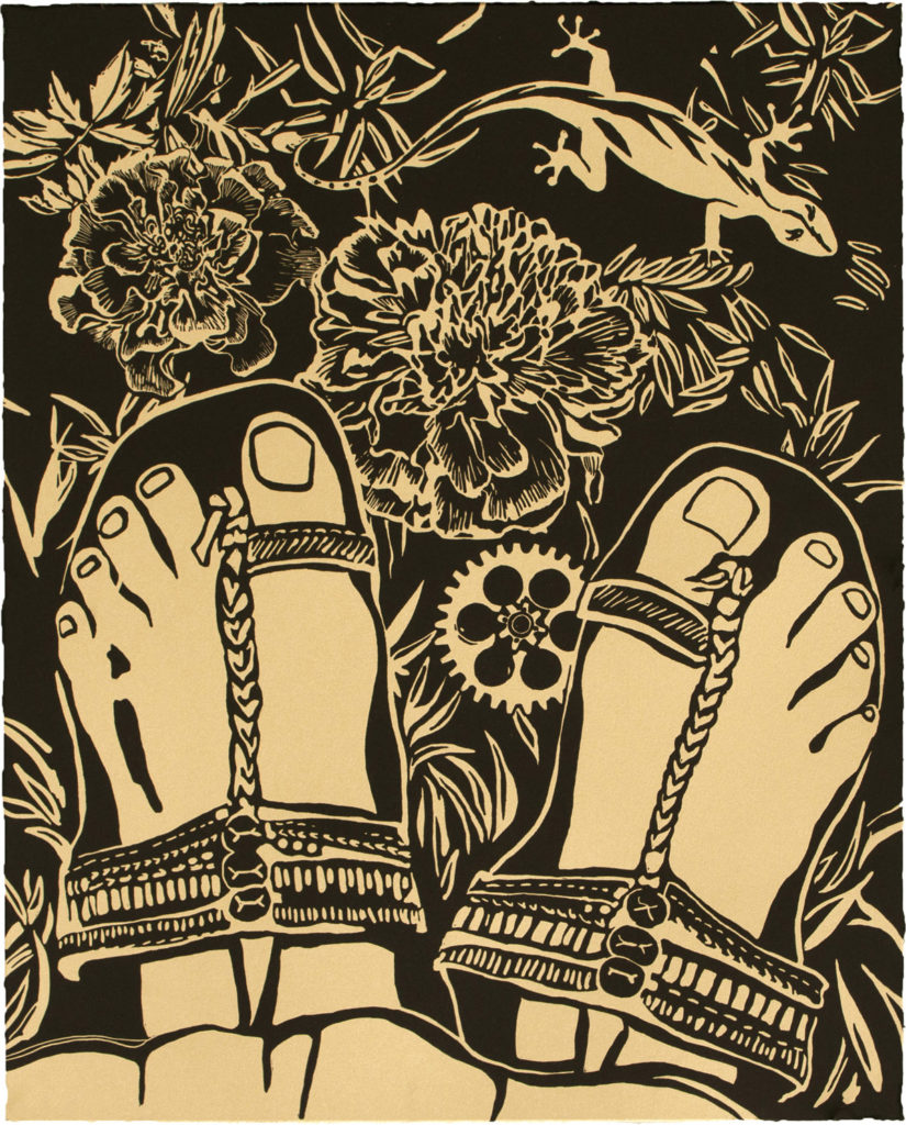 Chitra Ganesh, Sultana's Dream, 2018 Portfolio of 27 Linocuts BFK Rives Tan, 280gsm 20 1/8 x 16 1/8 inches (51.1 x 41 cm), Printed and Published by Durham Press, 2018 Courtesy chitraganesh.com Ganesh Sultana's Dream