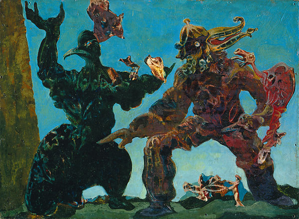 Two giant, menacing birds fighting in a dystopic landscape. Max Ernst, The Barbarians.