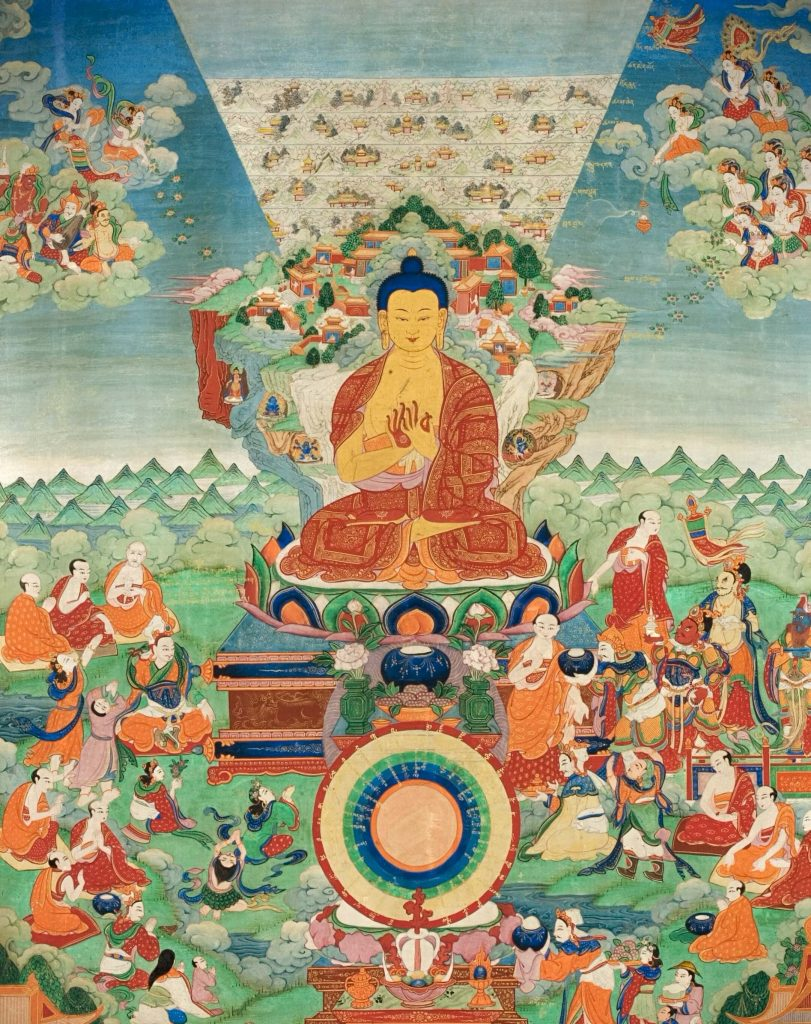 painting of the Buddha sitting in the center amidst other smaller figures of monks and devotees, The Buddha Shakyamuni at Mount Meru mandala