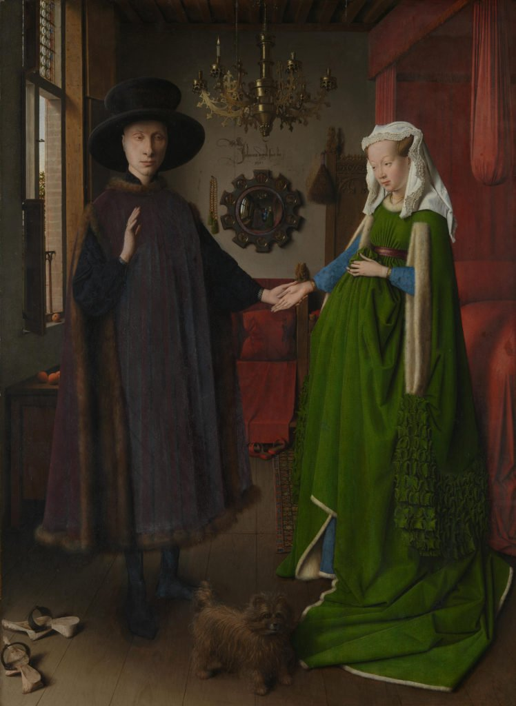 Jan van Eyck, The Arnolfini Portrait, 1434, oil on oak,  82.2 cm × 60 cm, National Gallery, London Source: http://www.nationalgalleryimages.co.uk/   © The National Gallery, London.