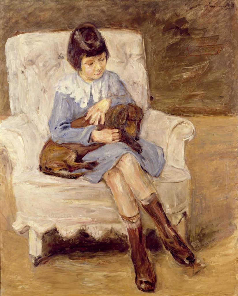 Max Liebermann, Maria Riezler-White, granddaughter of the artist, with a dachshund on her knee, ca. 1925