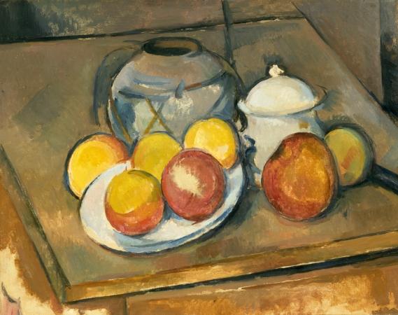 Paul Cézanne, Straw-Trimmed Vase, Sugar Bowl and Apples, 1890-1893. Musée de l'Orangerie, Paris, France. © RMN-Grand Palais (musée de l'Orangerie) / Hervé Lewandowski