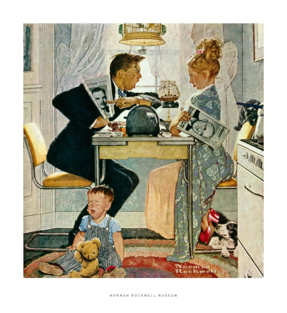 Kitchen Inspiration from Art History; Image of Rockwell's painting showing a husband and wife arguing over their favored candidate. Rockwell Dewey vs Truman Kitchen inspiration art history
