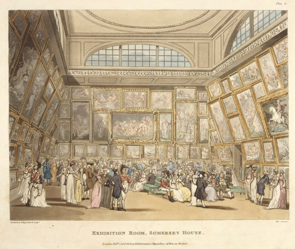 Exhibition Room Somerset House, graphic by Thomas Rowlandson and Augustus Charles Pugin